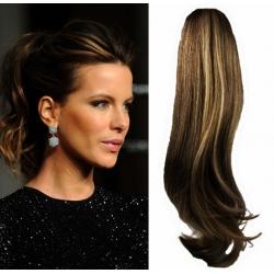 Clip in příčesek culík/cop 100% lidské vlasy 60cm vlnitý - tmavý melír