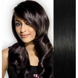 Clip in vlasy 43cm 100% ľudské - REMY 70g – čierna