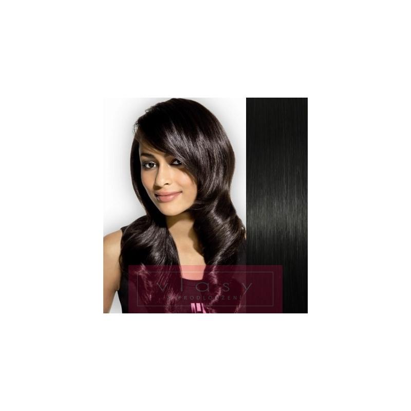 Clip in vlasy 43cm 100% ľudské - REMY 70g – čierna ... 741af675ef1