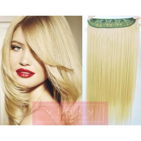 Clip in pás z pravých vlasů 43cm rovný – nejsvětlejší blond