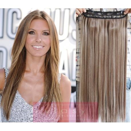 Clip in pás z pravých vlasů 43cm rovný – světlý melír