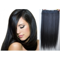 Clip in pás z pravých vlasov 53cm rovný – čierna