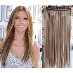 Clip in pás z pravých vlasů 53cm rovný – světlý melír