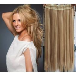 Clip in pás z pravých vlasů 53cm rovný – přírodní / světlejší blond