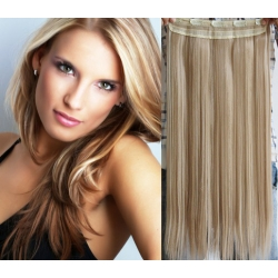 Clip in pás z pravých vlasů 53cm rovný – platina / světle hnědá