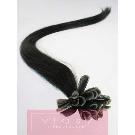 Vlasy európskeho typu k predlžovaniu keratínom 40cm - čierne