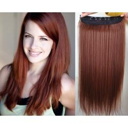 Clip in pás z pravých vlasů 53cm rovný – měděná