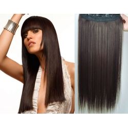 Clip in pás z pravých vlasů 63cm rovný – tmavě hnědá