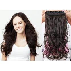 Clip in pás z pravých vlasů 43cm vlnitý – přírodní černá