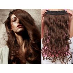 Clip in pás z pravých vlasů 43cm vlnitý – středně hnědá