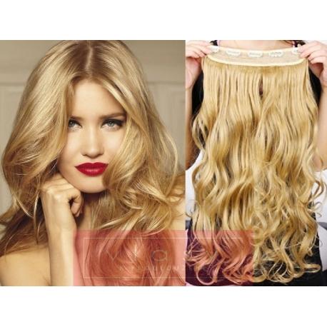 Clip in pás z pravých vlasů 43cm vlnitý – přírodní blond