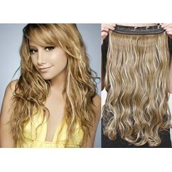 Clip in pás z pravých vlasov 43cm vlnitý – svetlý melír