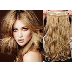 Clip in pás z pravých vlasů 43cm vlnitý – přírodní / světlejší blond