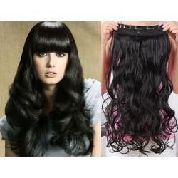 Clip in pás z pravých vlasů 53cm vlnitý – černá