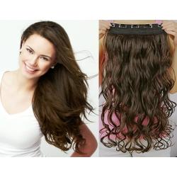 Clip in pás z pravých vlasů 53cm vlnitý – tmavě hnědá