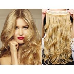 Clip in pás z pravých vlasů 53cm vlnitý – přírodní blond