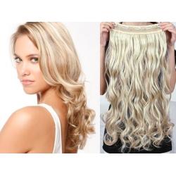 Clip in pás z pravých vlasů 53cm vlnitý – platina / světle hnědá