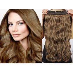 Clip in pás z pravých vlasů 63cm vlnitý – světle hnědá