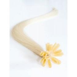 Vlasy evropského typu k prodlužování keratinem 60cm - platinové