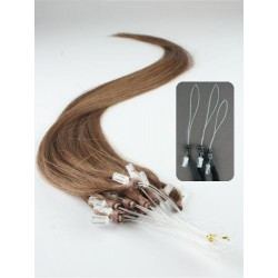Vlasy európskeho typu k predlžovaniu micro ring 40cm – svetlejšia hnedá