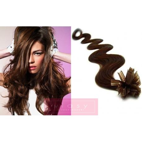 Vlnité vlasy evropského typu k prodlužování keratinem 50cm - tmavě hnědé