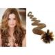Vlnité vlasy evropského typu k prodlužování keratinem 50cm - světle hnědé