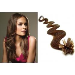 Vlnité vlasy evropského typu k prodlužování keratinem 60cm - světlejší hnědé