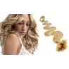 Vlnité vlasy evropského typu k prodlužování keratinem 60cm - přírodní blond