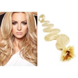 Vlnité vlasy európskeho typu k predlžovaniu keratínom 60cm – najsvetlejšia blond