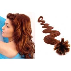Vlnité vlasy evropského typu k prodlužování keratinem 60cm - měděná
