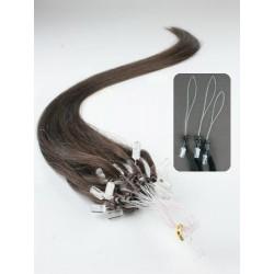 Vlasy európskeho typu k predlžovaniu micro ring 50cm – tmavo hnedá