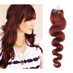 Vlnité vlasy európskeho typu k predlžovaniu micro ring 50cm – medená