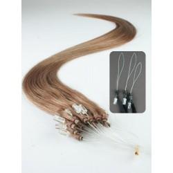 Vlasy európskeho typu k predlžovaniu micro ring 50cm – svetlo hnedá