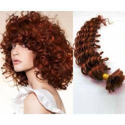 Kudrnaté vlasy evropského typu k prodlužování keratinem 50cm - měděná