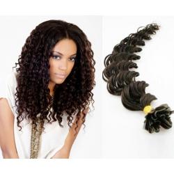 Kudrnaté vlasy evropského typu k prodlužování keratinem 60cm - přírodní černé
