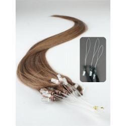 Vlasy európskeho typu k predlžovaniu micro ring 50cm – svetlejšia hnedá