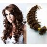 Kudrnaté vlasy evropského typu k prodlužování keratinem 60cm - středně hnědá