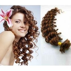 Kudrnaté vlasy evropského typu k prodlužování keratinem 60cm - světlejší hnědá