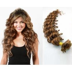 Kučeravé vlasy európskeho typu k predlžovaniu keratínom 60cm – svetlo hnedá