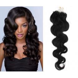 Vlnité vlasy Micro Ring / Easy Loop / Easy Ring / Micro Loop 60cm – černé