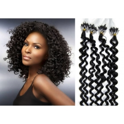 Kudrnaté vlasy Micro Ring / Easy Loop / Easy Ring / Micro Loop 50cm – černé