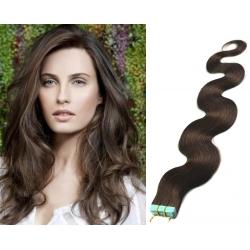Vlnité vlasy pro metodu Pu Extension / Tape Hair / Tape IN 50cm - tmavě hnědé