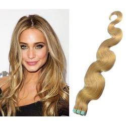 Vlnité vlasy pre metódu Pu Extension / Tapex / Tape Hair / Tape IN 50cm – prírodná blond