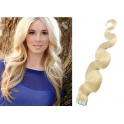 Vlnité vlasy pro metodu Pu Extension / Tape Hair / Tape IN 50cm - platina