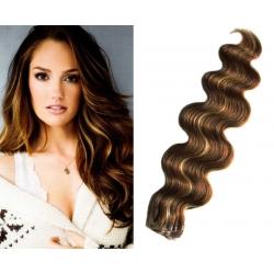 Vlnité vlasy pro metodu Pu Extension / Tape Hair / Tape IN 50cm - tmavý melír