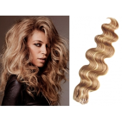 Vlnité vlasy pre metódu Pu Extension / Tapex / Tape Hair / Tape IN 50cm – prírodná / svetlejšia blond