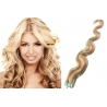 Vlnité vlasy pro metodu Pu Extension / Tape Hair / Tape IN 50cm - platina / světle hnědá