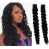 Kudrnaté vlasy pro metodu Pu Extension / Tape Hair / Tape IN 50cm - černé