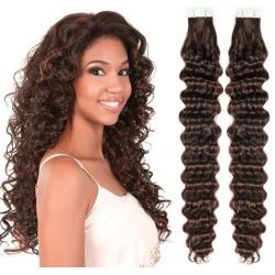 Kudrnaté vlasy pro metodu Pu Extension / Tape Hair / Tape IN 50cm - tmavě hnědé