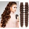 Kudrnaté vlasy pro metodu Pu Extension / Tape Hair / Tape IN 50cm - středně hnědé